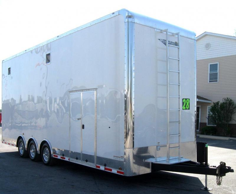 <b>Custom Builds Only</b> 2020 28' Millennium  2-Car Stacker Enclosed Trailer w/ Red Cabinets