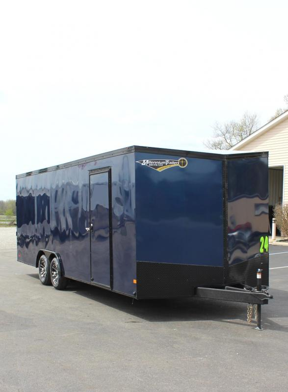 <b>INDIGO BLACK w/BLACK-OUT PKG</b> 2020 24' Transport Slant V  Nose Car Trailer White Walls & Ceiling