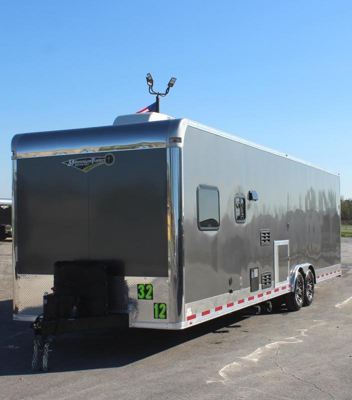 "<b>SOLS</b> NEW COLOR LIVING QUARTER NOW READY 2021 32' Millennium  Car Trailer 19'6"" Garage Area"