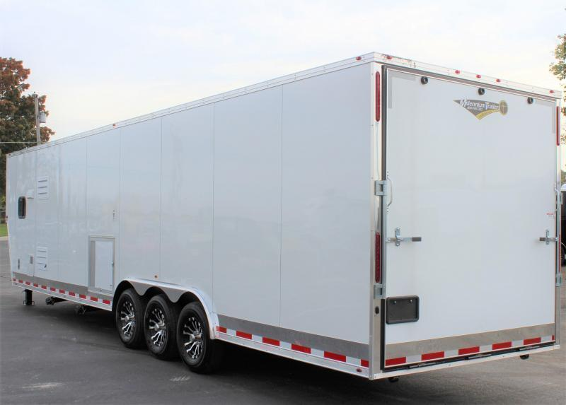 <b>READY MAY 17</b>  2021 40' Millennium Enclosed Race Car Gooseneck Trailer w/12' Sofa Living Quarters/King Size Bath