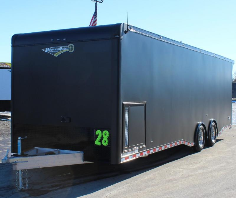 <b>WOW! TOTALLY LOADED OUT ALUMINUM FRAME & READY</b> 2021 28' Edge Race Trailer w/Outlaw  & Black-Out Pkg.