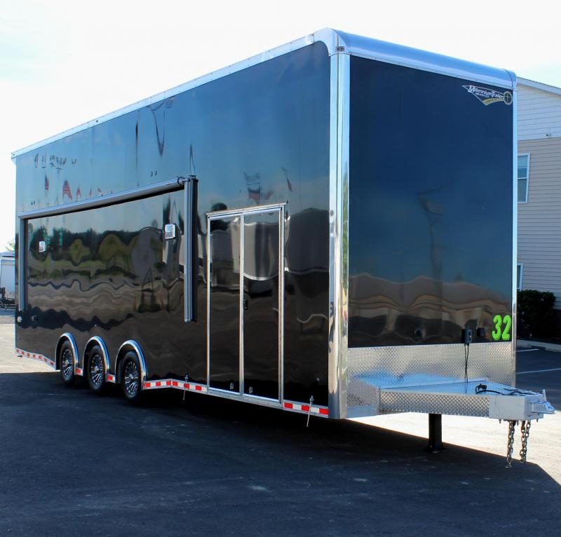 SALE PENDING 32' BLACK STACKER 2021 Haulmark Aluminum Stacker w/Electric Awning/Stinger Lift