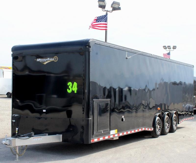 34' All Alum Millennium Black Out Enclosed Trailer/ Spread Triaxle with NEW Solar Panel Charger