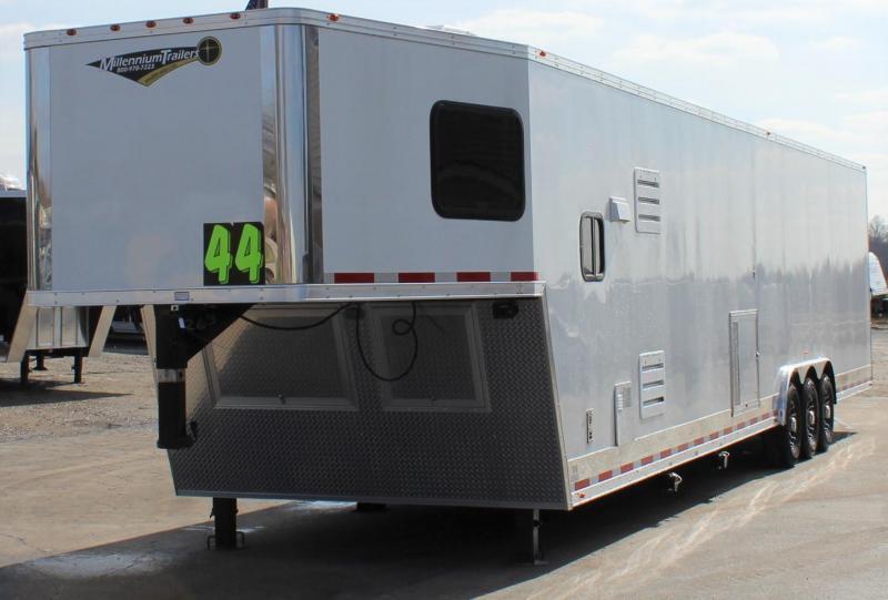 <b>READY IN NOV.</b> 44'  2022 Millennium Race Car Trailer w/Premium LQ 12'+8' Dinette 3/Lrg. Bath & Corner Shower