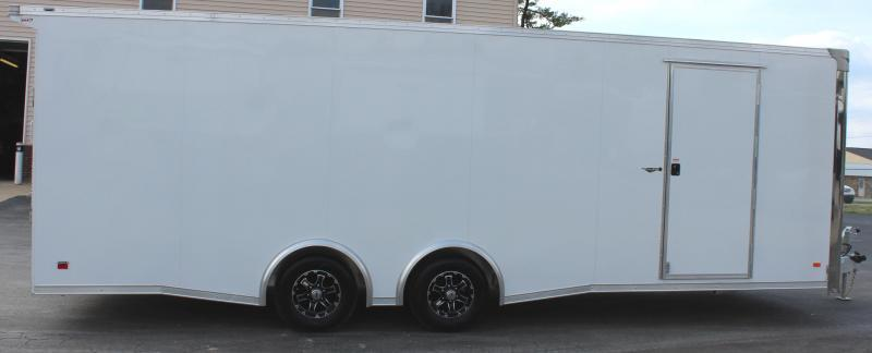 <b>READY 4/16</b> Wide Car? Look at This! 2022 24' White Aluminum Millennium Extreme Lite with Removable Fender