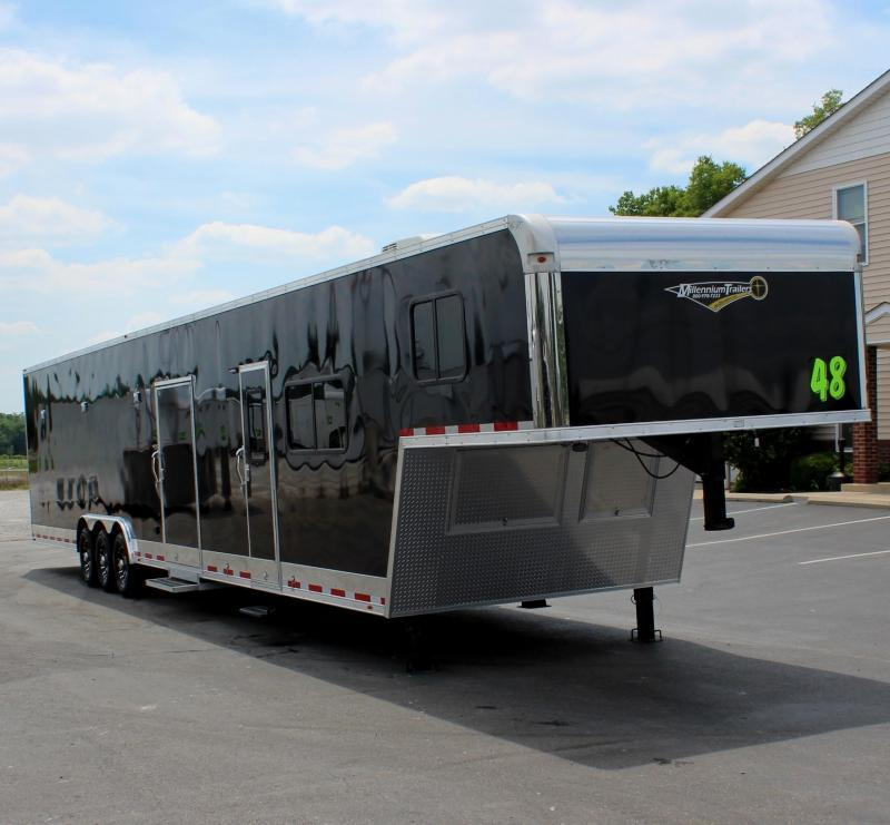 """<b>IN PROCESS SPECIAL</b> 2022 48' Millennium Race Trailer w/12'XE Living Quarters Sofa and Dinette 27'6"""" Garage Area"""