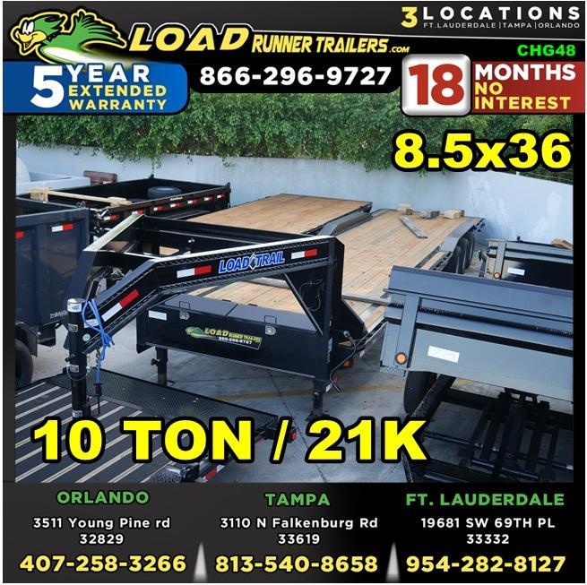 *CHG48* 8.5x36 10 TON Gooseneck Car Hauler Trailer |21K Trailers 8.5 x 36 | CHG102-36TT7-DOF