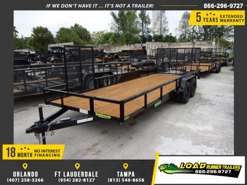 *114607* 7x20 Utility Trailer w/Electric Brakes, Tube Rail and Side Ramp 7 x 20