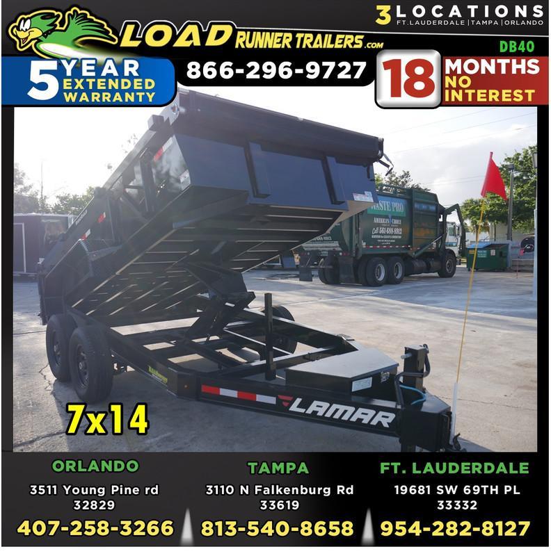 *DB40* 7x14 7 TON Dump Trailer |LAMAR Dumps & Trailers 7 x 14 | D83-14T7-LP/24S