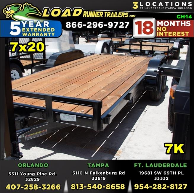 *CH14* 7x20 Car Hauler Trailer w/Brakes |5 TON Trailers 7 x 20 | CH82-20T3-1B