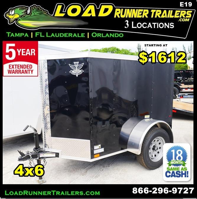 *E19* 4x6 Enclosed Luggage Cargo  Trailer 4 x 6 | EV4-6S3-D