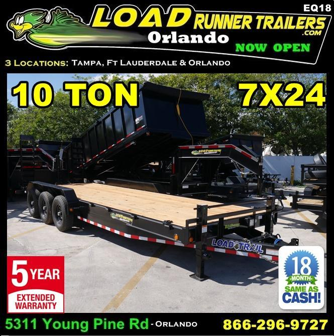 *EQ18* 7x24 10 TON Equipment & Car Hauler Trailer |LR Trailers 7 x 24 | EQ83-24TT7-MPD