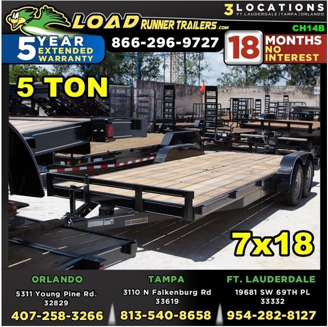 *CH14B* 7x18 5 TON Car Hauler Trailer w/Brakes Trailers & Haulers 7 x 18   CH82-18T5-2B