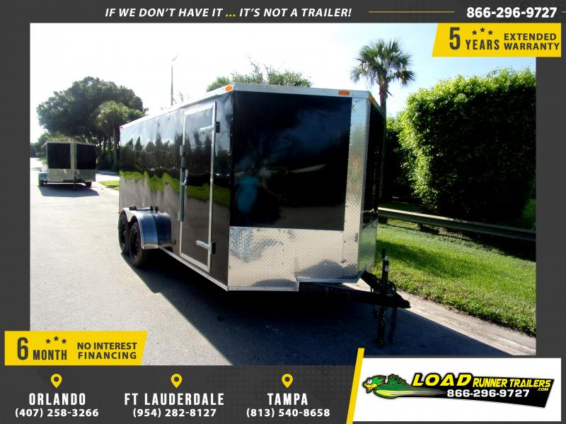 *111096* 7x16 Enclosed Cargo Trailer - BLACK |LRT Tandem Axle Trailers 7 x 16