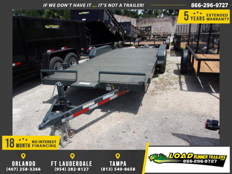 *115062* 7x20 Steel Deck Car Hauler Trailer 2/2 Electric Brake Axles 7 x 20