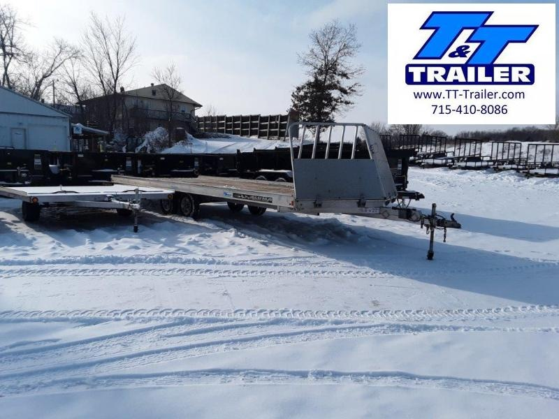 Used 2017 Aluma 8.5 x 22 4 Place Aluminum Snowmobile Trailer