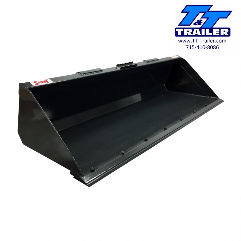 """2021 Stout 84"""" Material Bucket Skid Steer Attachment Attachment"""