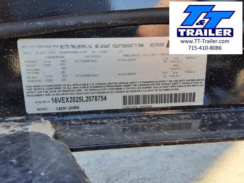 "2020 Big Tex 14DF 102"" x 20' Heavy Duty Drive-Over Fender Equipment Trailer"