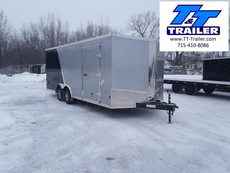 Used and Damaged 2021 Discovery Challenger SE 8.5 x 20 V-Nose Enclosed Combination Car and Toy Hauler Trailer