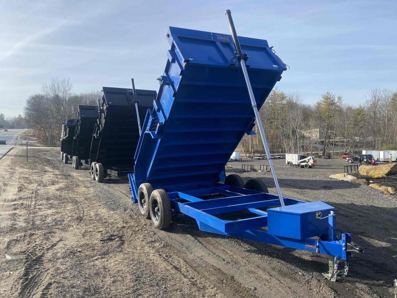 2021 Force Forest River 7x14 14k GVW BLUE TARP/RAMPS Dump Trailer