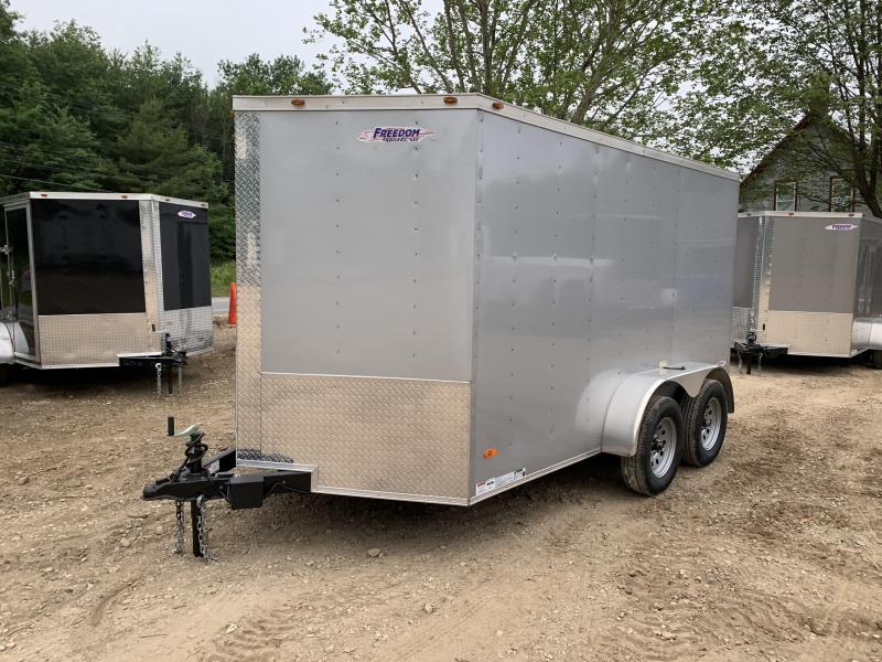 2019 Freedom Trailers 7x12 silver DUAL AXLE Enclosed Cargo Trailer