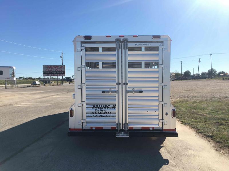 2022 Platinum Coach 18 Ft Stock Combo Slant Wall Livestock Trailer