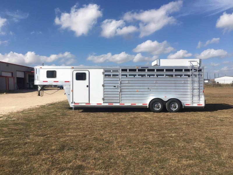 2015 Exiss Trailers STC 7024 with a 6 ft Tack Livestock Trailer