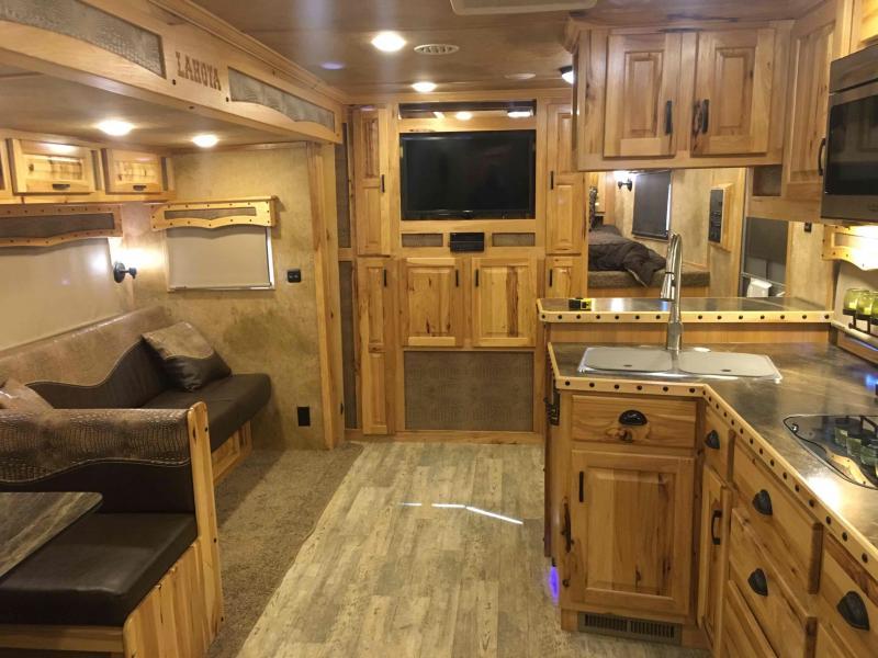2016 Lakota 4 Horse Big Horn 8416 with a 12 ft Slide Horse Trailer