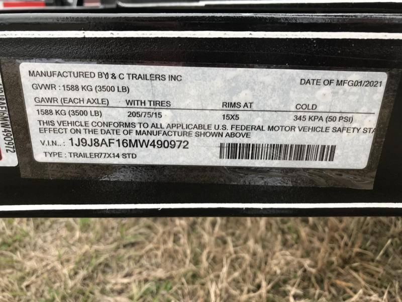 "2021 J&C Trailers 14' x 77"" Utility 3.5k SA Utility Trailer"