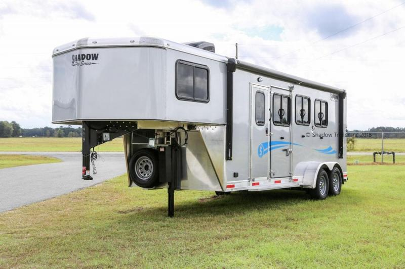 2019 Shadow Plus Pack II 3 Horse Trailer Slant Load with 5.6' Living Quarters