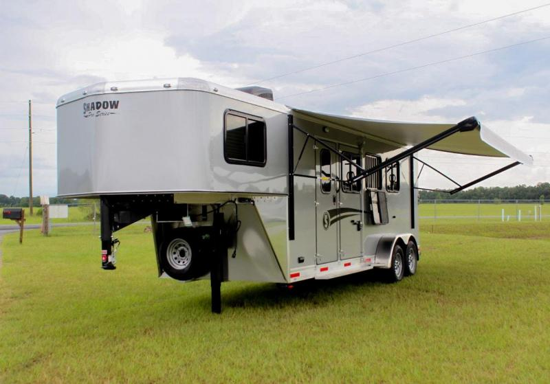 "2021 Shadow Plus Pack II 3 Horse Slant Load Gooseneck w/ 5'6"" Basic Living Quarters"
