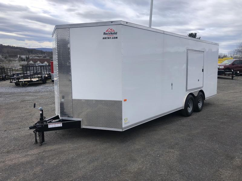 ROCK SOLID 2022 8.5 x 20 Tandem Axle White Car Hauler Cargo / Enclosed V-NOSE Trailer w/ Triple Tube Extended Tongue and Escape Door