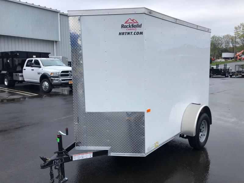 ROCK SOLID 2021  5' x 8' SINGLE AXLE WHITE WITH ADDITIONAL HEIGHT ENCLOSED TRAILER