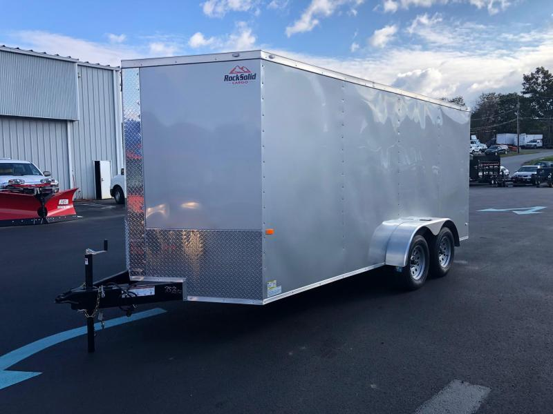 ROCK SOLID 2021 7' x 16' TANDEM AXLE SILVER FROST SEMI-SCREWLESS V-NOSE ENCLOSED TRAILER