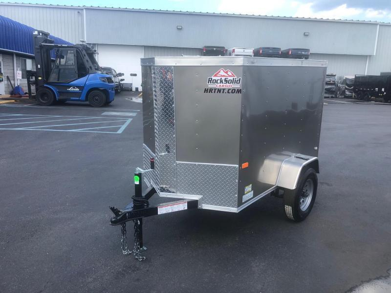 ROCK SOLID 2022 5' x 8' SINGLE AXLE PEWTER W/ ADDITIONAL HEIGHT  ENCLOSED TRAILER