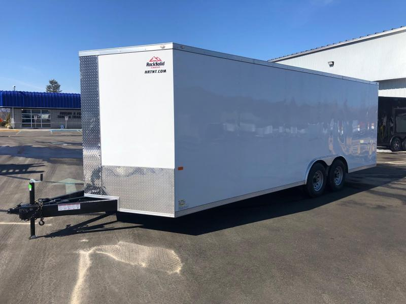 ROCK SOLID 2022 8.5' x 22' TANDEM AXLE WHITE V-NOSE CARGO TRAILER WITH TRIPLE TUBE TONGUE EXTENDED CAR HAULER