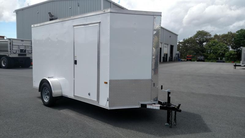 ROCK SOLID 2021 6' x 12' WHITE SINGLE AXLE V-NOSE ENCLOSED TRAILER