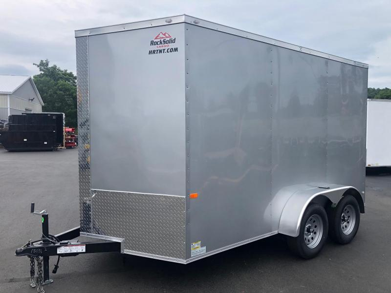 ROCK SOLID 2021 7' x 12'  SILVER SEMI-SCREWLESS TANDEM AXLE V-NOSE ENCLOSED TRAILER