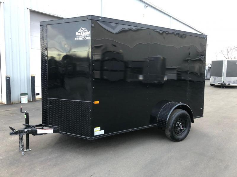 ROCK SOLID 2021 6' x 10' SINGLE AXLE  BLACK W/ BLK TRIM SEMI- SCREWLESS ENCLOSED TRAILER