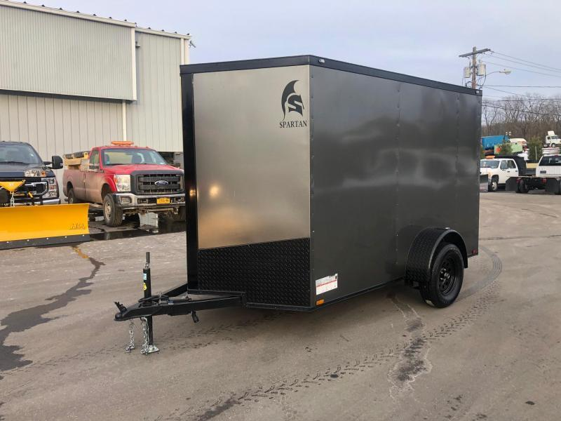 SPARTAN CARGO 2021 6X10 SINGLE AXLE CHARCOAL WITH BLACKOUT SEMI SCREWLESS ENCLOSED TRAILER