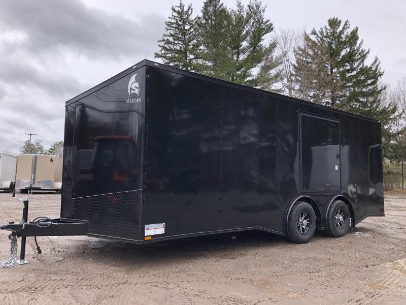 """2021 Spartan 8.5X20+2ft V trailer/6"""" extra height/9990gvwr/undercoated/.030/torsion/BLACKOUT"""