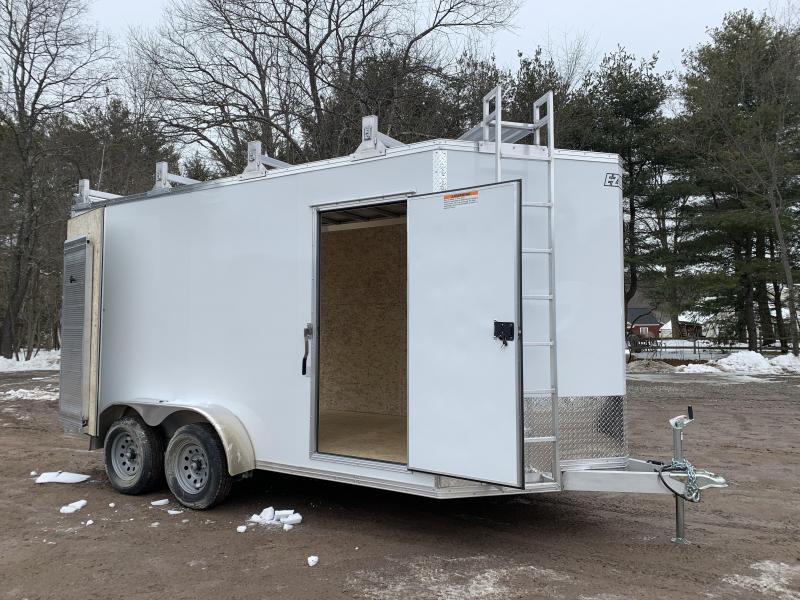 "*DENT SALE* 2021 EZ Hauler 7X14 +3 ft V-Nose Aluminum trailer / 12"" extra height/ Ultimate Contractor"