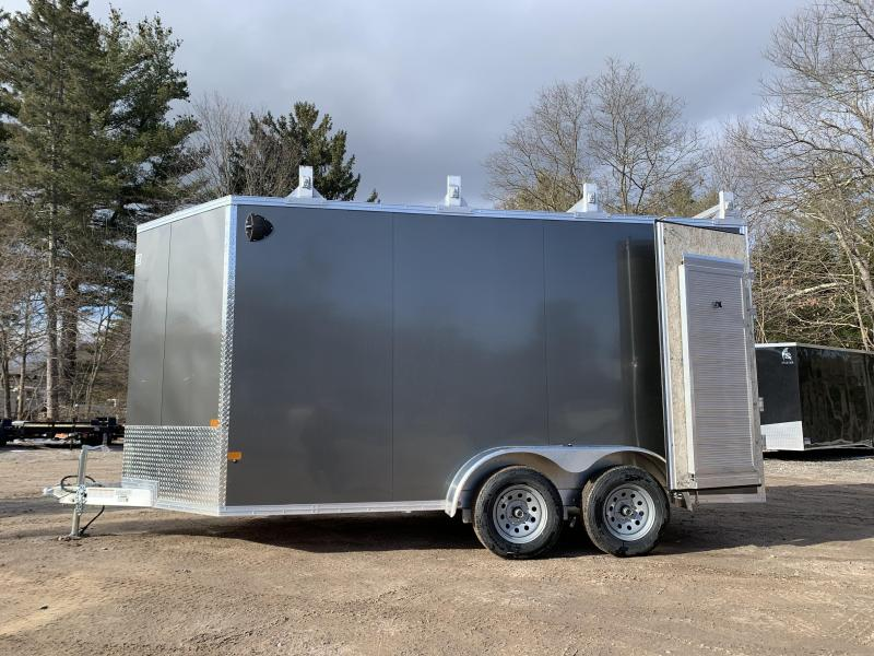 "2021 EZ Hauler 7X14 +3 ft V-Nose Aluminum trailer / 12"" extra height/ Ultimate Contractor"
