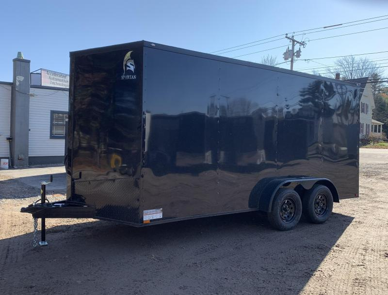"""2021 Spartan 7x16 +2ft V-nose/12"""" extra height Blackout trailer"""