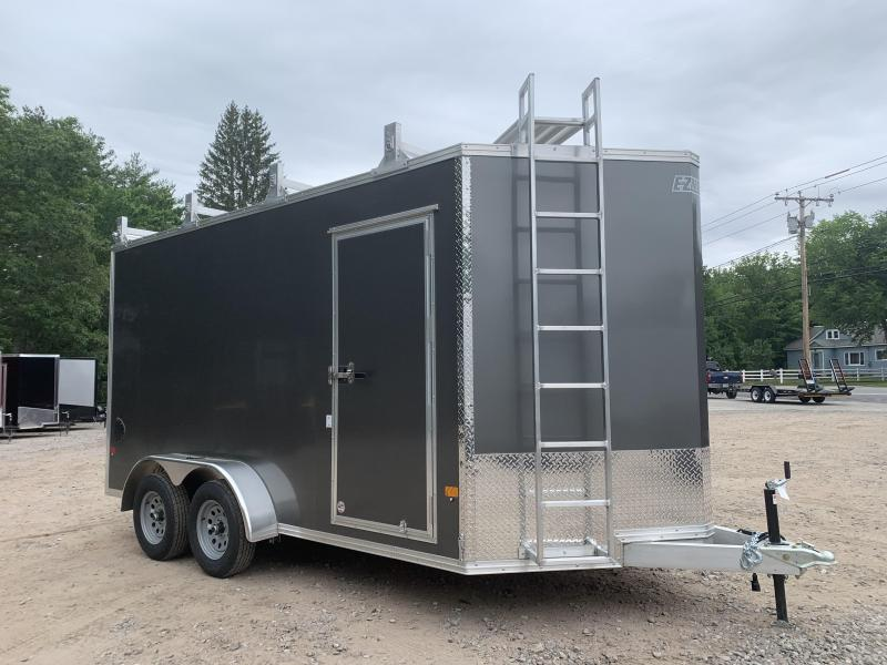 "2021 EZ Hauler 7X14 +3 ft V-Nose Aluminum trailer / 12"" extra height/ Ultimate Contractor/Ramp"