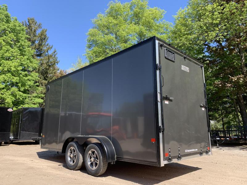 "2021 EZ Hauler 7X16+2 ft V-Nose BLACKOUT/Fully aluminum trailer/12"" extra height"