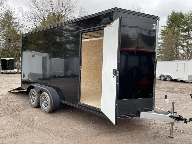 """2021 EZ Hauler 7X16+2 ft V-Nose DuraLite/BLACKOUT/Fully aluminum trailer/12"""" extra height"""