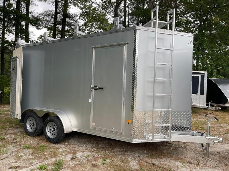 2021 EZ Hauler 7X14 +3 ft V-Nose Aluminum trailer ultimate contractor/7' inter.