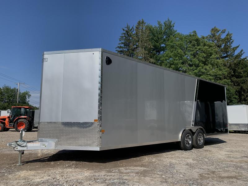 "2021 EZ Hauler 8.5x24 +3 ft V-nose/ FULLY Aluminum Car Hauler/9990gvwr/12"" extra height"