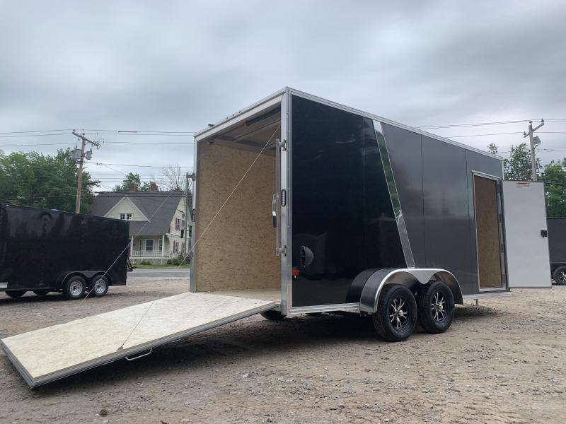 """2021 EZ Hauler 7X16+2 ft V-Nose DuraLite/Fully aluminum trailer/16"""" extra height"""
